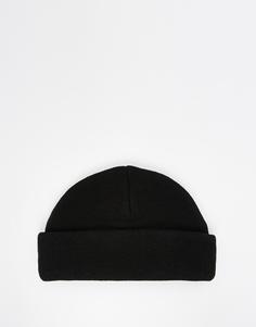 Черная шапка-бини в рубчик ASOS - Черный