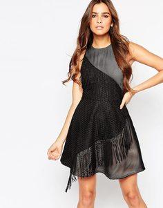 Фактурное приталенное платье с бахромой Adelyn Rae - Черный