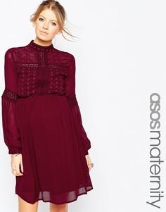 Короткое приталенное платье ASOS Maternity Victoriana - Красный
