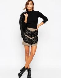 Мини-юбка с кружевной отделкой ASOS Premium - Кэмел