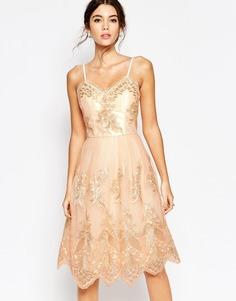 Премиум-платье миди для выпускного с эффектом металлик Chi Chi London