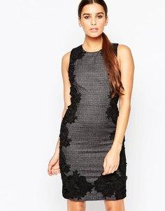 Твидовое платье‑футляр с кружевными накладками Adelyn Rae