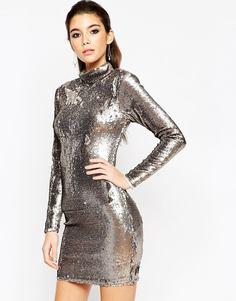 Платье мини с высоким воротом и пайетками ASOS NIGHT - Gun metal