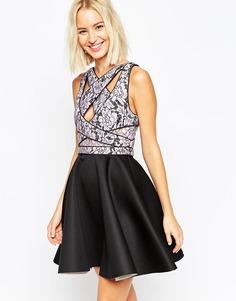 Короткое приталенное платье с кружевным лифом ASOS
