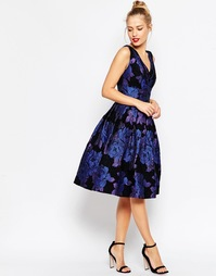Жаккардовое платье миди для выпускного ASOS Blue Rose - Синий