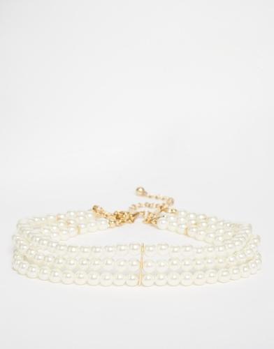 Ожерелье-чокер из жемчужных бус ASOS - Кремовый