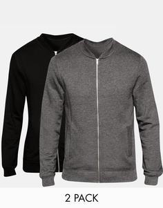 ASOS Jersey Bomber Jacket 2 Pack Black/ Grey SAVE 15% - Мульти