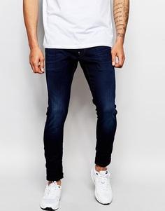 Темные состаренные суперузкие джинсы стретч G‑Star Defend Slander