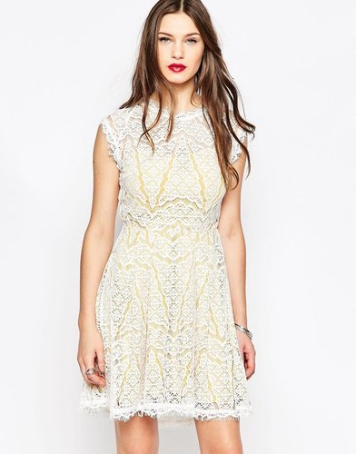 Adelyn Rae White and Yellow Lace Dress