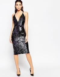 Платье миди с глубоким декольте и отделкой пайетками ASOS NIGHT