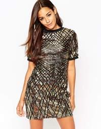 Платье мини с геометрическим узором и отделкой пайетками ASOS