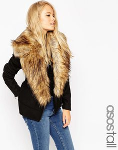 ASOS TALL Biker Jacket with Oversized Faux Fur Collar - Черный