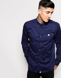 Pretty Green Shirt with Polka Dot Print - Темно-синий