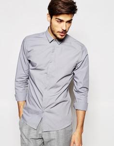 Рубашка скинни с миниатюрным воротником Noak - Светло-серый