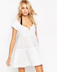 Ярусное пляжное платье с присборенной юбкой ASOS - Белый