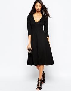 Платье миди из двойного трикотажа ASOS - Черный