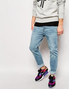Голубые выбеленные эластичные джинсы слим ASOS - Синий