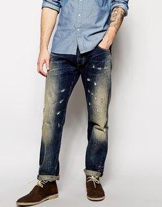 Свободные суженные книзу потертые джинсы темно-синего цвета Lee Jeans by Donwan Harrell Chase - Затемненный