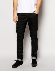 Черные зауженные эластичные джинсы Diesel Tepphar 663Q - Черный