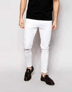Ультразауженные джинсы скинни с рваными коленями ASOS - Белый
