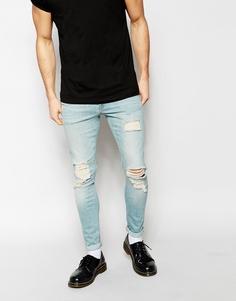 Супероблегающие рваные джинсы ASOS - Синий