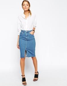 Синяя джинсовая юбка‑карандаш миди с разрезом спереди ASOS - Синий