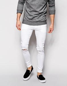 Супероблегающие рваные джинсы ASOS - Белый