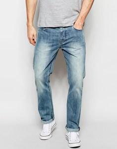 Умеренно выбеленные прямые джинсы ASOS - Синий