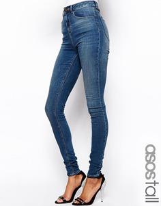Тертые cиниe джинсы скинни с завышенной талией ASOS PETITE Ridley - Синий