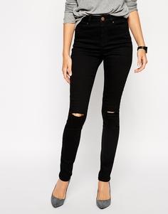 Черные джинсы скинни с рваными коленками ASOS Ridley - Черный