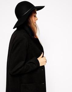 Широкополая фетровая шляпа с узким ремешком ASOS - Черный