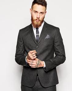 Зауженный пиджак в тонкую полоску ASOS - Серый