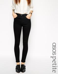 Черные укороченные джинсы слим с завышенной талией ASOS PETITE - Черный