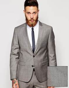 Приталенный пиджак с мелким геометрическим принтом ASOS - Серый
