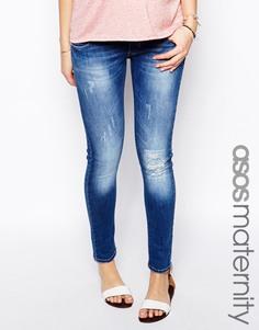 Рваные джинсы скинни для беременных эксклюзивно для ASOS Maternity - Умеренный выбеленный