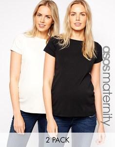 Комплект из 2 футболок с овальным вырезом ASOS Maternity
