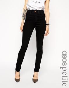 Черные джинсы скинни с завышенной талией ASOS PETITE Ridley - Чистый черный