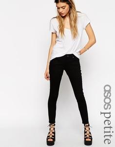 Черные укороченные джинсы скинни с заниженной талией ASOS PETITE Whitby - Чистый черный