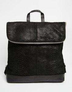 Рюкзак из тисненой кожи ASOS - Черный