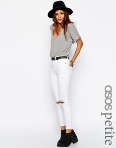 Белые рваные укороченные джинсы ASOS PETITE Ridley - Белый