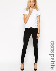 Черные зауженные джинсы с заниженной талией ASOS PETITE Whitby - Черный