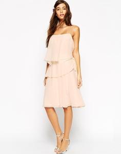 Платье с оборками и пояском на боку ASOS WEDDING - Кремовый