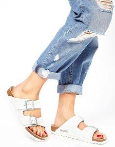 Узкие белые кожаные сандалии с двумя ремешками Birkenstock Arizona - Белый