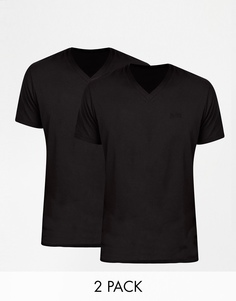 Две футболки классического кроя с V‑образным вырезом Hugo Boss - Черный