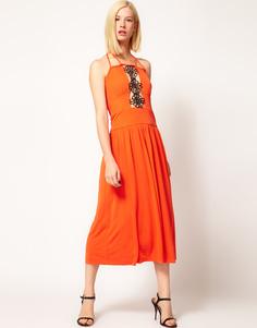 Платье миди с декоративной кружевной вставкой Kore by Sophia Kokosalaki - Sunset