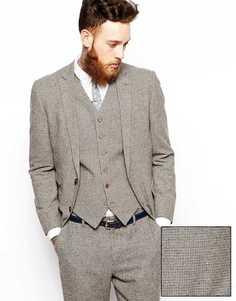 Приталенный пиджак с рисунком гусиная лапка ASOS - Коричневый