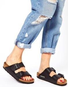 Узкие черные сандалии с двумя кожаными ремешками Birkenstock Arizona - Черный