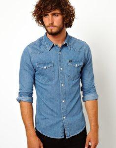 Приталенная рубашка в стиле вестерн из стираного денима Lee - Light stone
