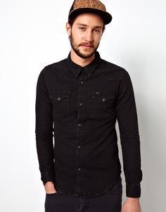 Черная джинсовая рубашка в стиле вестерн узкого кроя Lee - Угольно-черный