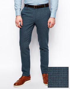 Зауженные брюки в синюю гусиную лапку ASOS - Синий